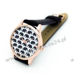 Zegarek Geneva SŁONIKI NA SZCZĘŚCIE Czerń Biżuteria i Zegarki