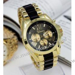 Zegarek Rzymski złoto z czernią Biżuteria i Zegarki
