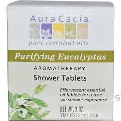 Aura Cacia, Aromatherapy Shower Tablets, Purifying Eucalyptus, 3 Tablets, 1 oz Each