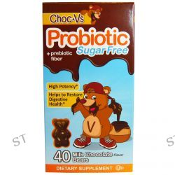 Yum-V's, Probiotic + Prebiotic Fiber, Milk Chocolate, Sugar-Free, 40 Bears