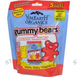 Yummy Earth, Gummy Bears, 4 Flavors, 5 Snack Packs, 0.7 oz (20 g) Each