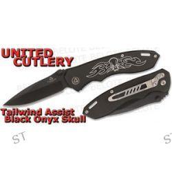 United Cutlery Tailwind Assisted Black Onyx Skull Folding Knife Plain UC2801 New
