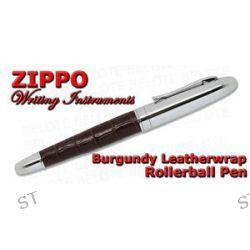 Zippo Burgundy Leather Wrap Roller Ball Cap on Off Pen 41122 New