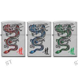 Zippo Red Blue Green Dragon Lighter Set Chrome Good Luck Charm RARE L K