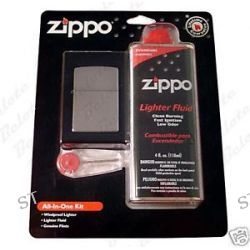 Zippo All in One Kit Street Chrome 207 Lighter 6 Flints and 4 oz Fuel 24651