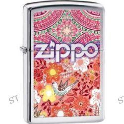 Zippo An Array of Flowers Patterns w Songbird High Polish Chrome Lighter 28851