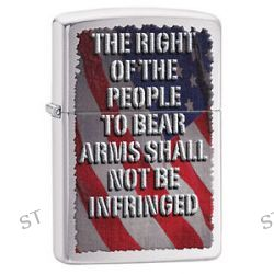 """Zippo Brushed Chrome Flag """"The Right"""" Windproof Lighter 28641 New"""