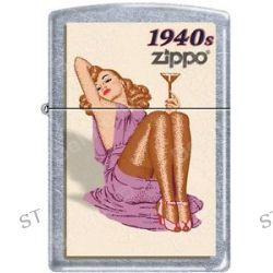 Zippo Windy Vintage Nose Art Martini Pinup 1940 Era Satin Chrome Lighter New