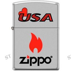 Zippo USA Zippo Flame Logo Windproof Lighter Satin Chrome RARE Hard to Find New