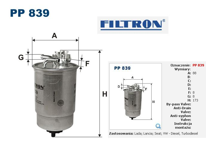 filtr paliwa filtron pp 839 volkswagen 1 9d 1 9tdi golf ii golf iii sharan polo iii. Black Bedroom Furniture Sets. Home Design Ideas