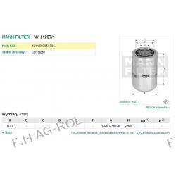 FILTR HYDRAULICZNY MANN-WH 1257/1.ŁADOWARKO-KOPARKI CATERPILLAR MODELE:432 E (BXE1->)/ 428 E (SNL1->)/SERIA:400/600/800/900/TH