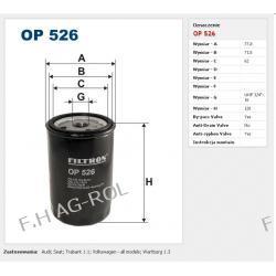 Filtr oleju FILTRON OP 526 zastosowanie:VOLKSWAGEN-SHARAN-2.0i /PASSAT-1.8i, 1.6 ,2.0i GT 16V,/GOLF III2.0i GTI/SEAT-IBIZA I-1.7i GLI