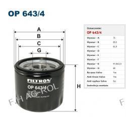 Filtr oleju OP 643/4 Zastosowania:   Nissan 1.9dCi; Opel Movano 1.9CDTi; Renault 1.9dCi-wszystkie modele; Suzuki Grand Vitara 1.9DDiS