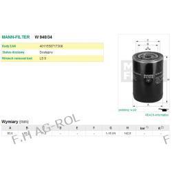 Filtr oleju MANN-FILTER W 940/34 odpowiednik:CASE J908616 ,161 625; CUMMINS 3903224; HUNDAI 3908616; KOMATSU 6732-51-5140; FIAT 151831111 ,76192146; DONALDSON P558616