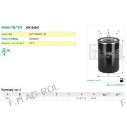 Filtr paliwa MANN WK 940/5,  odpowiednik:DONALDSON-P554620;CASE B-1050595; DEUTZ Q 1,5H4117 ; W 1,5 H 4117; 01174422 ;01183359;1161003;1164620;1174422;1902133;247139 ; IVECO 1164620 ,1902133