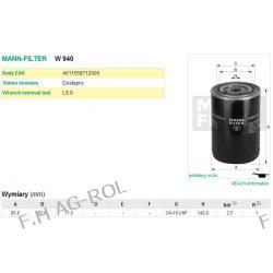 Filtr oleju MANN-FILTER nr:W940   Hydraulika, Przekładnia hydrauliczna/przekładnia automatyczna, Olej do smarowania