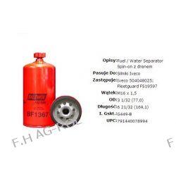 Filtr paliwa BF1367 pasuje do silników IVECO, maszyn Case, New Holland. Nr porównawcze: FS19597, 504048025