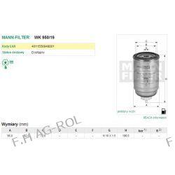Filtr paliwa MANN-FILTER WK 950/19 zastosowanie:NEW HOLLAND-FR 9090,CASE,IVECO
