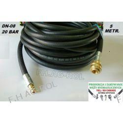Wąż przewód gumowy do kompresora,5 metrów. 20-BAR. DN08, zakuty Lampy tylne