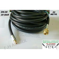 Wąż przewód do kompresora,30 metr. 20-BAR. DN08, zakuty Lampy tylne