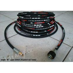 Wąż przewód do myjki KARCHER 12 metrów,wtyk typu CLICK+NAKRĘTKA M22 x 1,5 ,250 BAR, TEMP: DO 155° ,DN06 , oplot metalowy