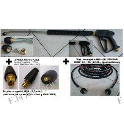 Wąż przewód do myjki KARCHER HD/HDS 20 metrów,250 BAR, TEMP: DO +155°, 2 x nakrętka M22 x 1,5+Pistolet Lanca + dysza+  turbodysza-dysza rotacyjna DO KARCHER