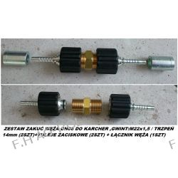 ZESTAW ZAKUĆ WĘŻA DN06 DO KARCHER ,GWINT:M22x1,5 / TRZPEŃ 14mm (2SZT)+TULEJE ZACISKOWE (2SZT) + ŁĄCZNIK WĘŻA (1SZT)