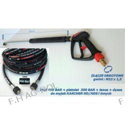 Wąż przewód 400 BAR 15 metrów+pistolet 350 BAR ze złączem obrotowym+lanca+dysza do Karcher HD HDS