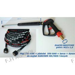 Wąż przewód 250 BAR 25 metrów+pistolet 350 BAR ze złączem obrotowym+lanca+dysza do Karcher HD HDS