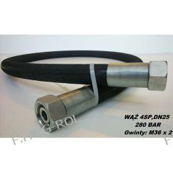 PRZEWÓD HYDRAULICZNY 2 metry, DN25, 4SP-(4 STALOWE OPLOTY),280 BAR, 2 x Nakrętka-gwint M36 x 2-odmiana ciężka