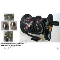 Wąż 50 metrów ,250 BAR,DN08,TEMP-(+155°C) do urządzeń myjących+bęben+dysza do udrażniania przepychania kanalizacji,gwint: 3/8