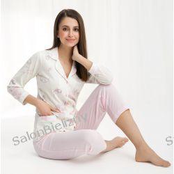 piżama LUNA 453 długa krem/róż kwiaty M