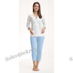 piżama LUNA 453 długa krem/niebieski kwiaty M