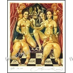 Kirnitskiy Sergey 2005 Exlibris C4 Sisters d'Estrees Erotic Nude Woman Art 106