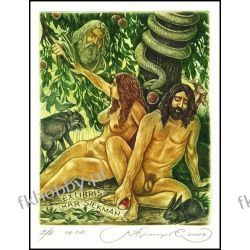 Kirnitskiy Sergey 2004 Exlibris C4 Adam and Eve Erotic Nude Wolf Hare Snake 94
