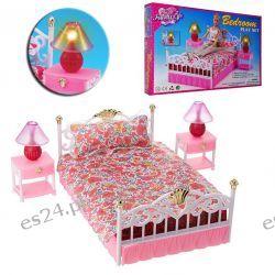 SYPIALNIA łóżko 2-osobowe lampki mebelki Barbie EduCORE