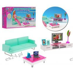 Salon TRENDY sofa TV laptop meble dla Barbie EduCORE
