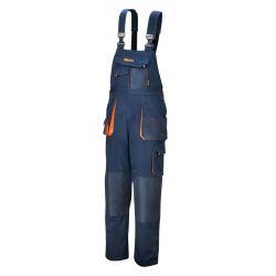 7873E - Spodnie robocze na szelkach, lekkie, materiał T/C, 180 g/m?, z wstawkami Oxford, granatowe