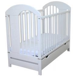 JARDREW łóżeczko tymon białe 120x60 wyciągane szczebelki Z szufladą