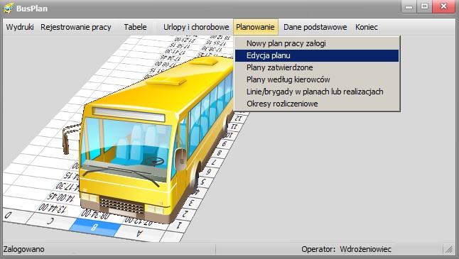 Główne menu busoplan