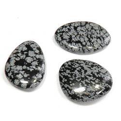 OBSYDIAN ŚNIEŻNY - kamień płaski 1szt. Skamieliny, minerały i muszle