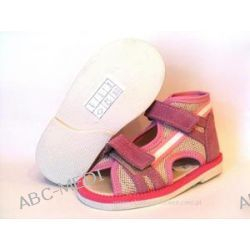 8-BS-191/A różowo lniane ortopedyczne profilaktyczne kapcie-sandałki dziecięce przedszk. rozm. 26  dlugość stopy 16,5 Pozostałe