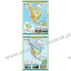 Mapa szkolna fizyczna/krajobrazy Ameryka Północna dwustronna Magnetyczno-suchościeralne