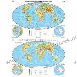 Mapa Świata fizyczna/do ćwiczeń szkolna, dwustronna Magnetyczno-suchościeralne