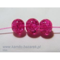 Koraliki różowe crackle 6 mm,20 szt