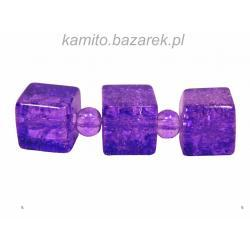 Koraliki fioletowe 2 crackle kostka 8 mm,8 szt