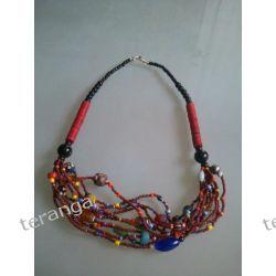Naszyjnik  kolorowe koraliki czerwień brąz Biżuteria i Zegarki