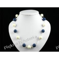 Naszyjnik- biały i niebieski koral srebro piękny