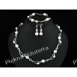 Ślubna- komplet perły kryształ Swarovski srebro