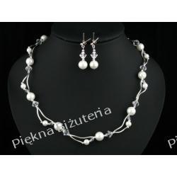 Biżuteria Ślubna - perły kryształ Swarovski i srebro biały